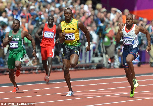 100m Round 1 at London Olympics - Usain Bolt flanked by  Ogho-Oghene Egwero James Dasaolu (currently Nigeria's and Britain's fastest men)