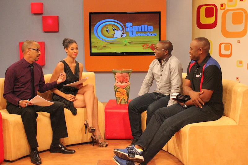 On Smile Jamaica (L-R Neville Bell & Yendi Phillipps (the presenters), Bambo Akani & Enefiok Udo-Obong (the guests))