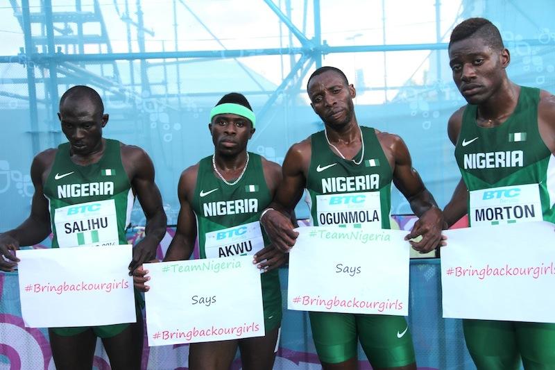 Nigeria's 4x400m World Relay Team  (L-R, Isah Salihu, Noah Akwu, Tobi Ogunmola, Amechi Morton)