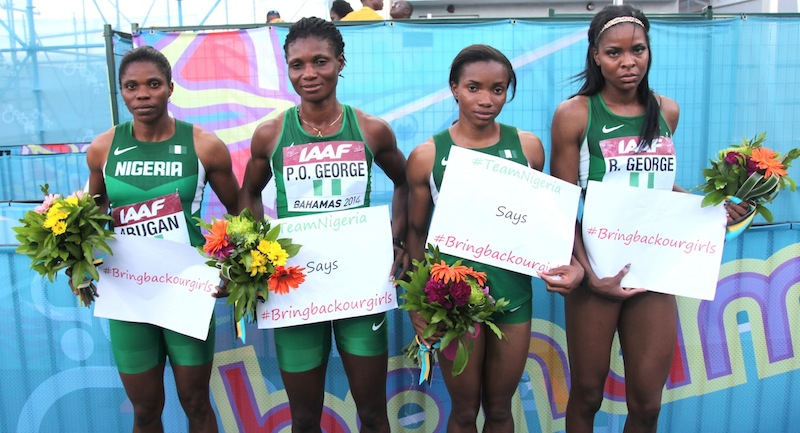 Nigeria's 4x400m World Relay Bronze-winning team (L-R, Sade Abugan, Patience Okon George, Omolara Omotosho, Regina George)