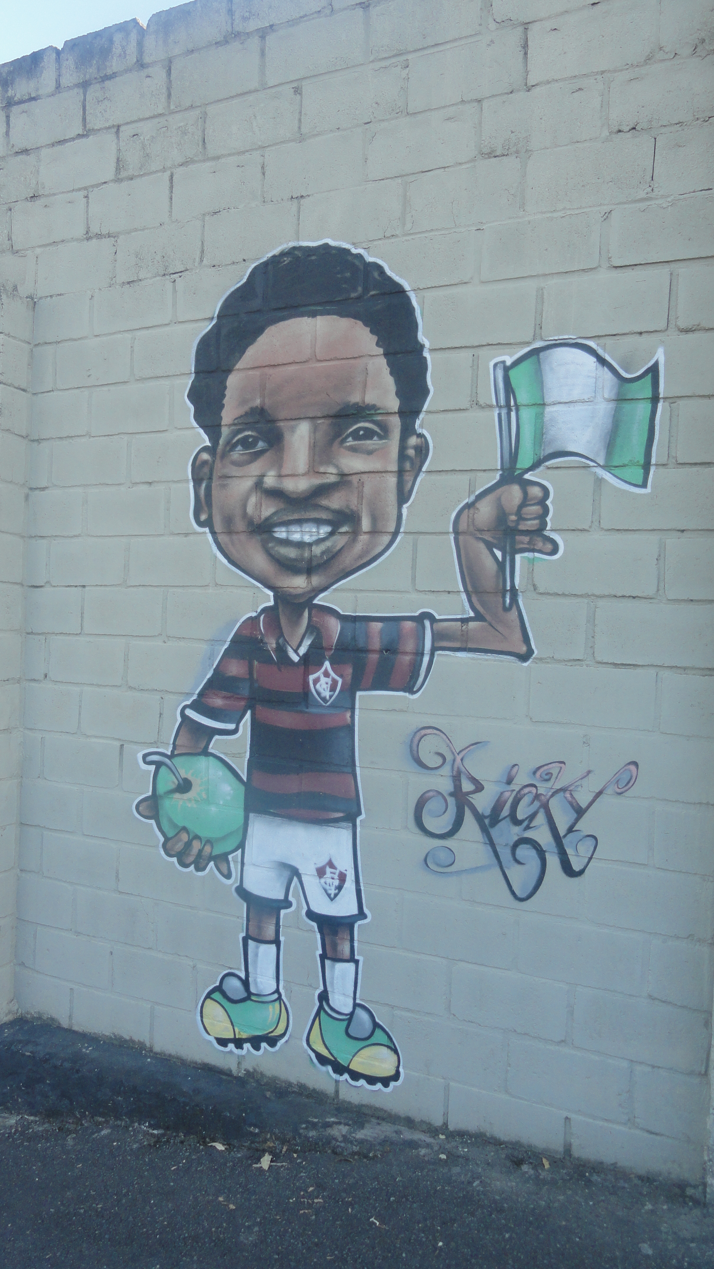 Richard Owubokiri immortalised on the wall at Vitória Club stadium in Salvador
