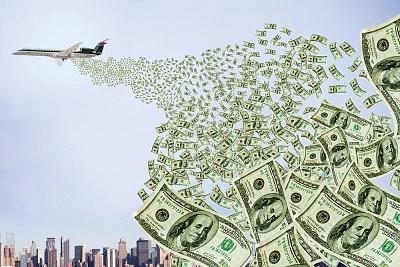 plane dropping money