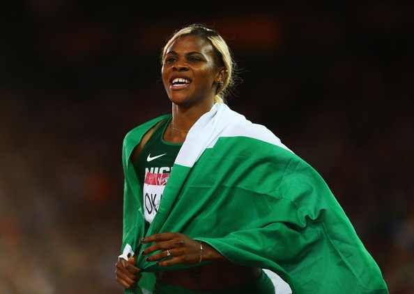 Blessing wins GOLD with Naija flag