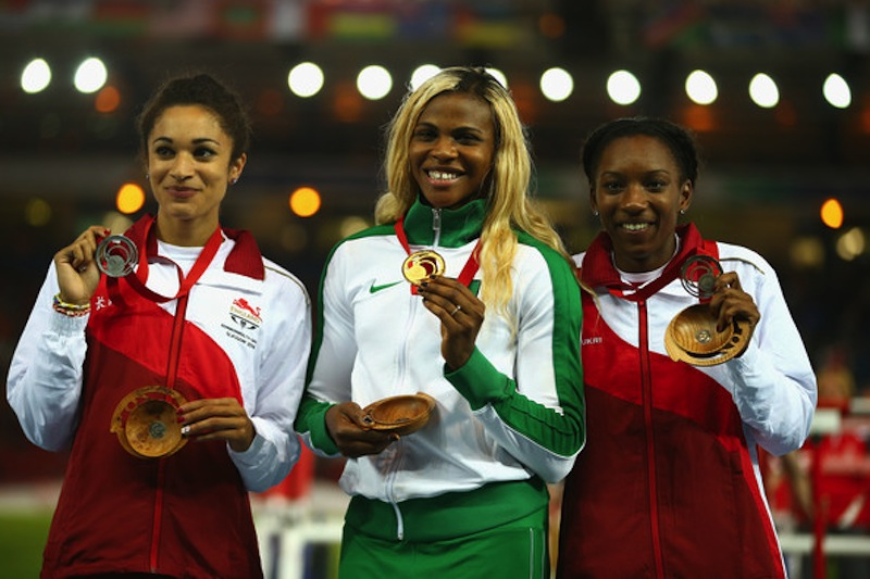 200m C'wealth Champ Blessing Okagbare of Nigeria flanked by Silver & Bronze medallists Jodie Williams and Bianca Williams of England.  (Photo Credit: Richard Heathcote/Getty Images Europe)
