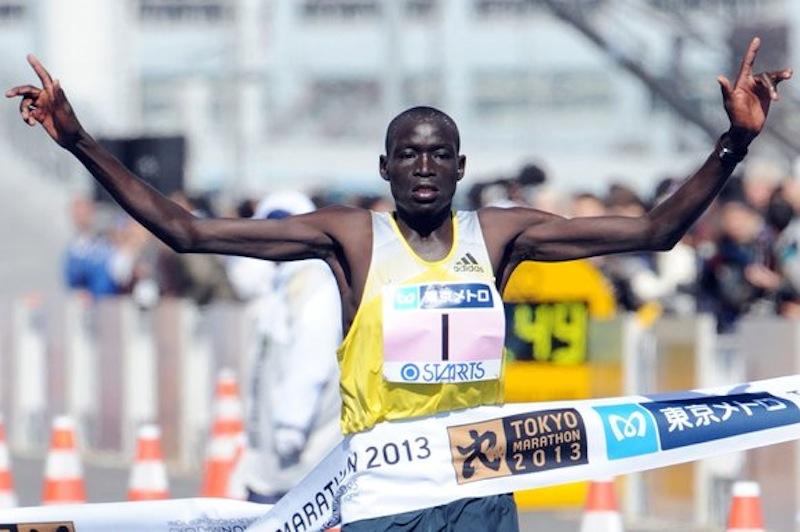 Dennis Kimetto of Kenya winning the Tokyo 2013 Marathon in a new course record of 2:06:50 hrs (Photo credit:        www.marathons.runners.ru)