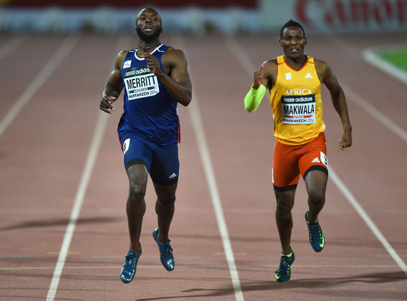 Makwala (R) took silver behind USA's LaShawn Merritt (L) at the IAAF Continental Cup in Marrakech.  (Photo Credit: Christopher Lee/Getty Images)