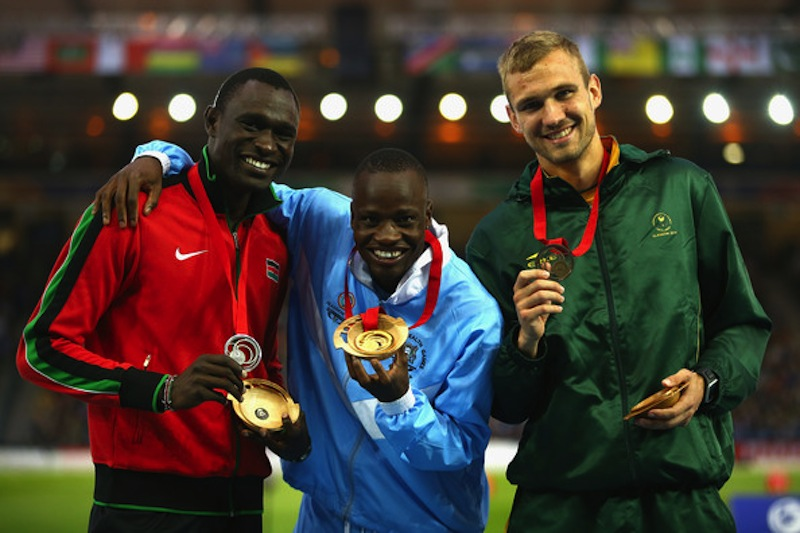 David Rudisha of Kenya (Silver), Nijel Amos of Botswana (GOLD) and Andre Olivier of South Africa (Bronze) in 800m at 2014 Commonwealth Games. (Richard Heathcote/Getty Images Europe)