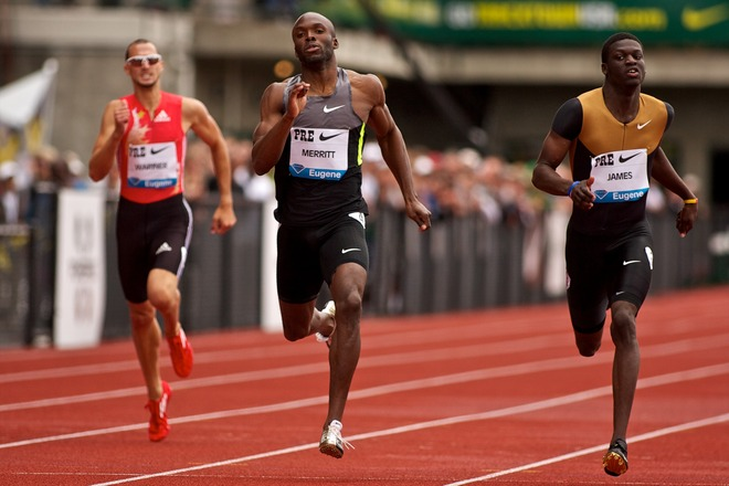 Merritt (L) renewed his rivalry with Grenada's Kirani James (R) at the Diamond League in Oregon. (Photo Credit:Getty Images)