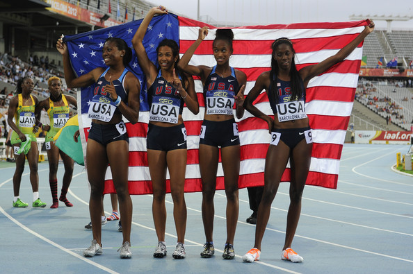 Ekpone (2nd left) celebrates winning the Women's 4x400m Relay at the 2012 IAAF World Juniors in Spain.  (Photo Credit: David Ramos/Getty Images Europe)