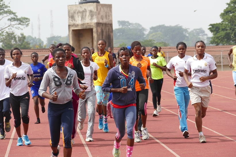 Athletes warming up before competition on Saturday in Ibadan