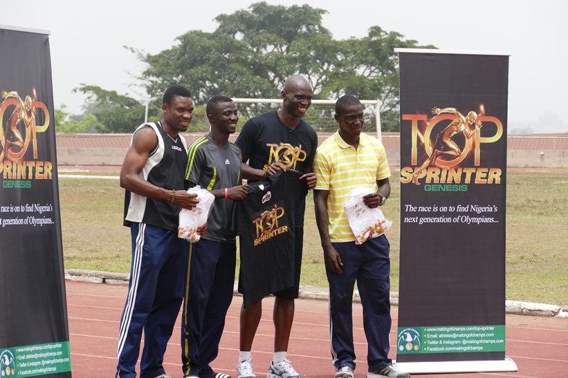 Arolowo stole the show as Male MVA after winning the sprint double - Obikwelu presented him a black Top Sprinter t-shirt