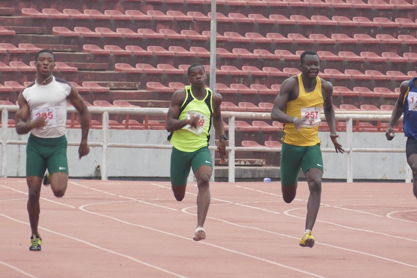 National junior athletes, Chukwudi Olisakwe (Left), Thankgod Igube (Centre) and Victor Peka (Right) dominated the sprint double.