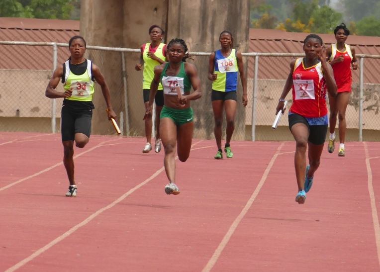 The Top 25 Lagos team, led by Moyosore Badejo (Right) won the  women's 4x100m relay.