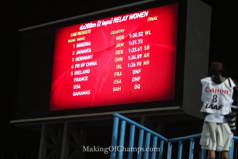 Nigeria comes out on top, with Jamaica 2nd, while USA didn't finish the 4x200m at the World Relays 2015