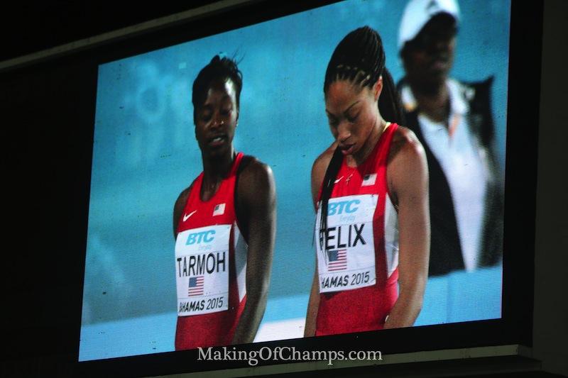 Allyson Felix & Jeneba Tarmoh after the World Relays 4x200m