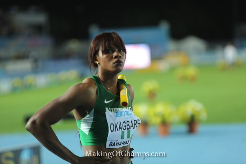 Okagbare before the 4x200m final where Nigeria won GOLD