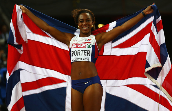 Tiffany Porter celebrates her victory at the 2014 European Championships. (Photo Credit: Getty Images)