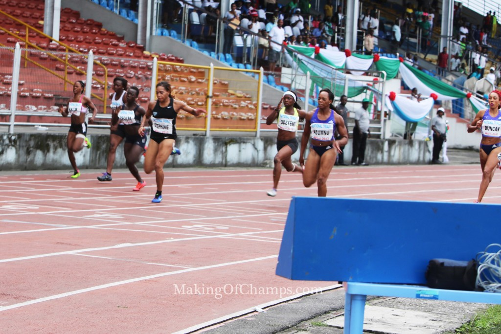 The women's 100m final was a keenly contested event.