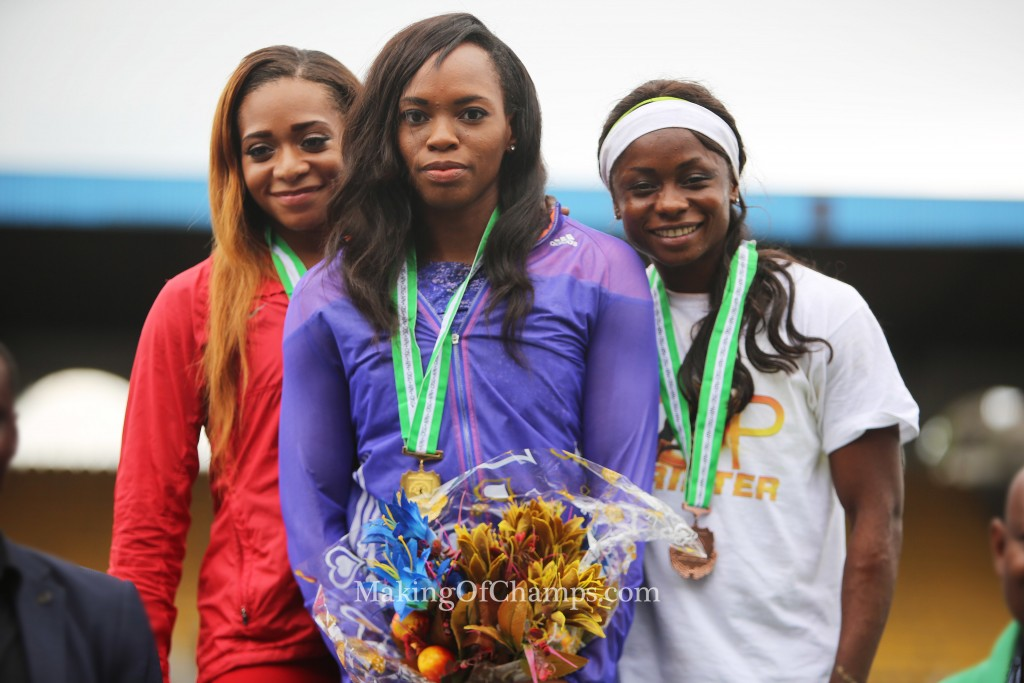 Asumnu won GOLD ahead of Stephanie Kalu (Left) and Deborah Odeyemi (Right).