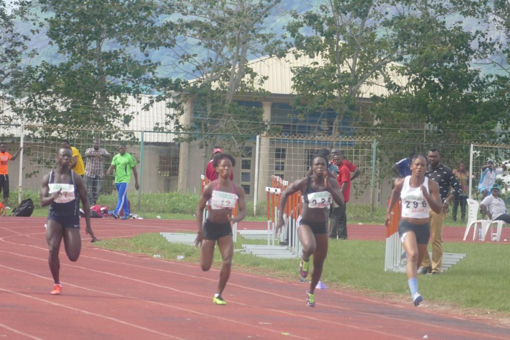 Nkem Ezealah (3rd Right) denied Isoken Igbinosun a hat-trick of victories in the women's100m.