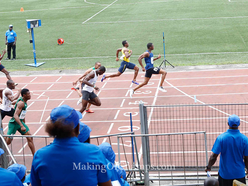 Seye Ogunlewe gets to the finishing line ahead the rest of the pack in the semis.