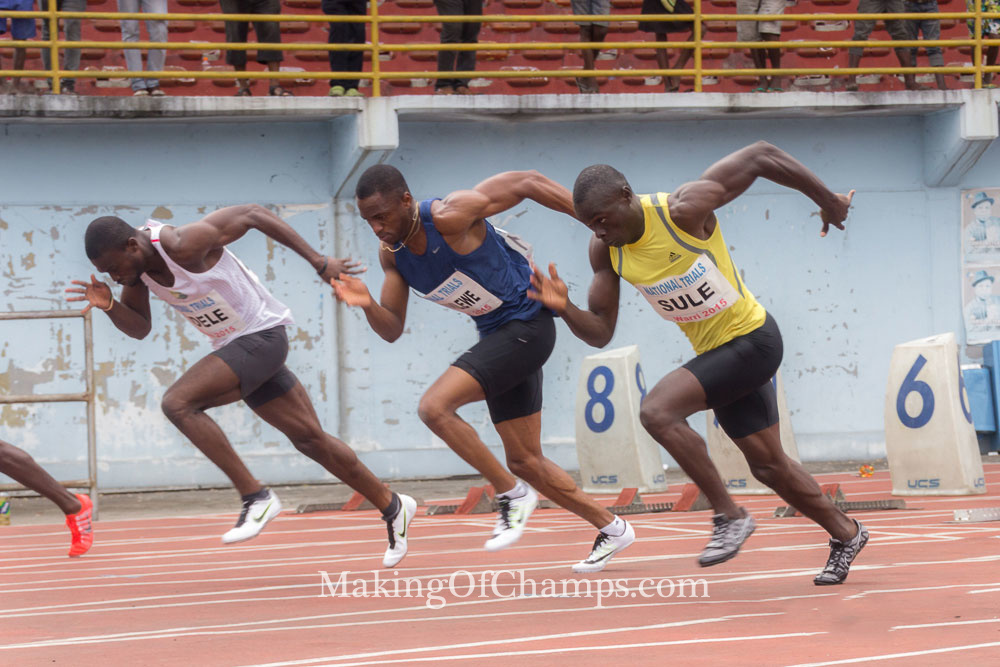 The men's 100m race was thrown open, following the absence of defending champion, Mark Jelks.