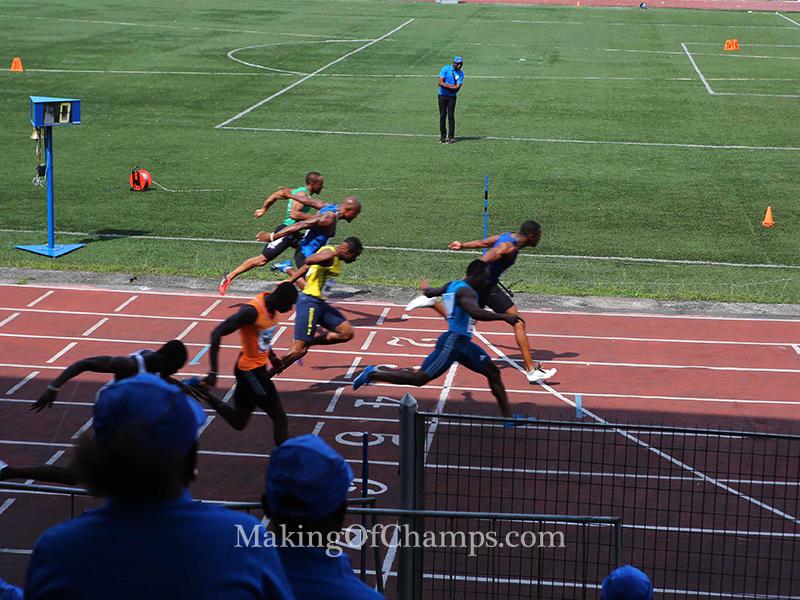 Seye Ogunlewe edges out Ogho-Oghene in the final of the men's 100m.