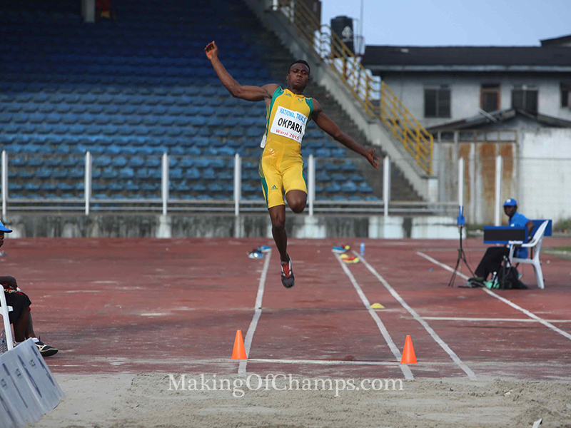 Theddus Okpara won the men's High Jump and placed 4th in the Long Jump.