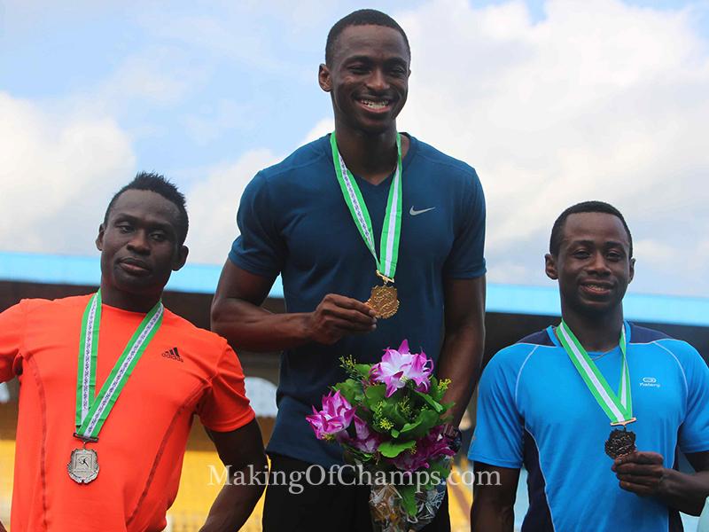 Ogunlewe is flanked by 2nd place Ogho-Oghene Egwero and Jonathan Nmaju who won Bronze.