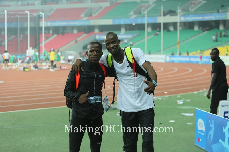 Nijel Amos was on ground to support up-and-coming team mate, Boitumelo Masilo.