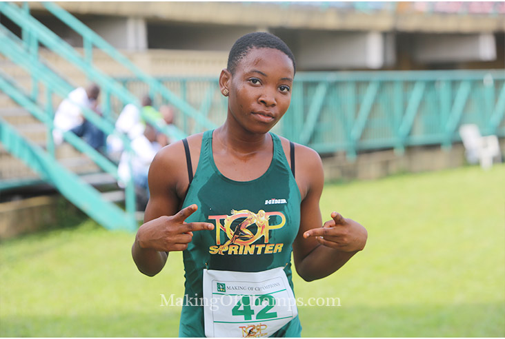 Chiamaka beat Ruth Usoro to the girls' 100m title.