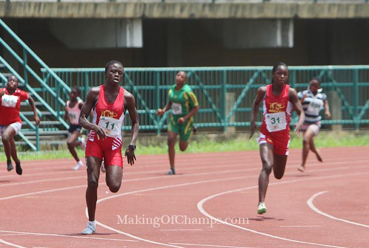 Glory Nyenke emerged winner in the Girls' 200m.