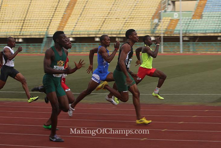 Olisakwe Chukwudi was the man to beat in the 100m.