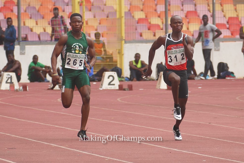 Chibuike Egbochinam (Left) competes for Making of Champions in the men's 100m.