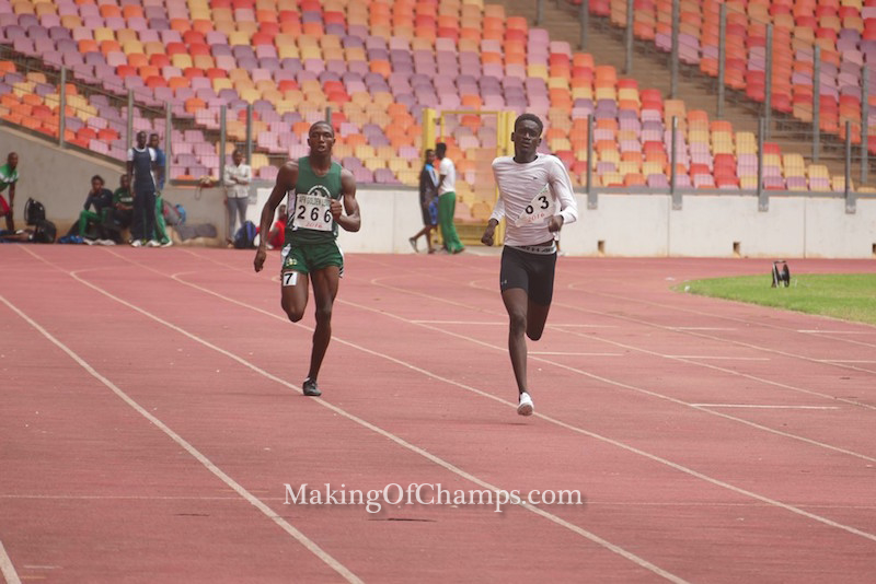 Ese Oguma competing for Making of Champions in the men's 400m.
