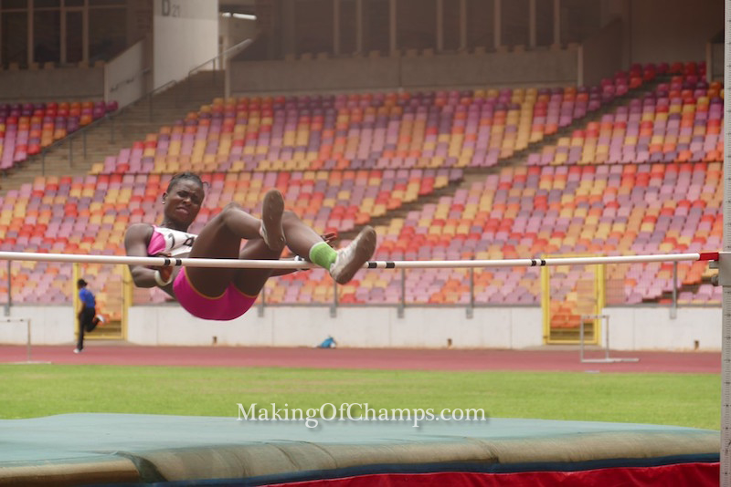 Ngozi Nwichi competing in the women's High Jump event.