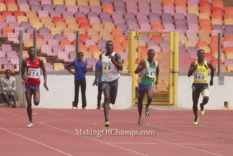 Athletes competing in the men's 400m heats.