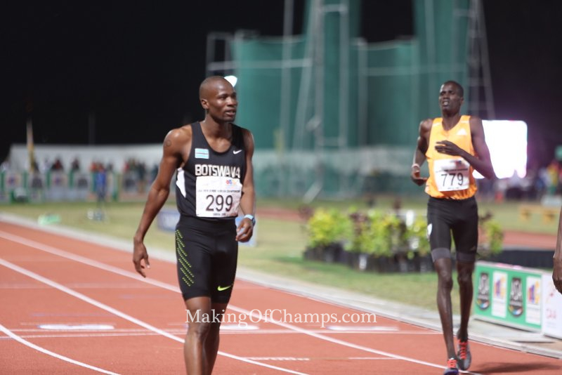 African Games Champion Nijel Amos has returned to the track after an injury scare.