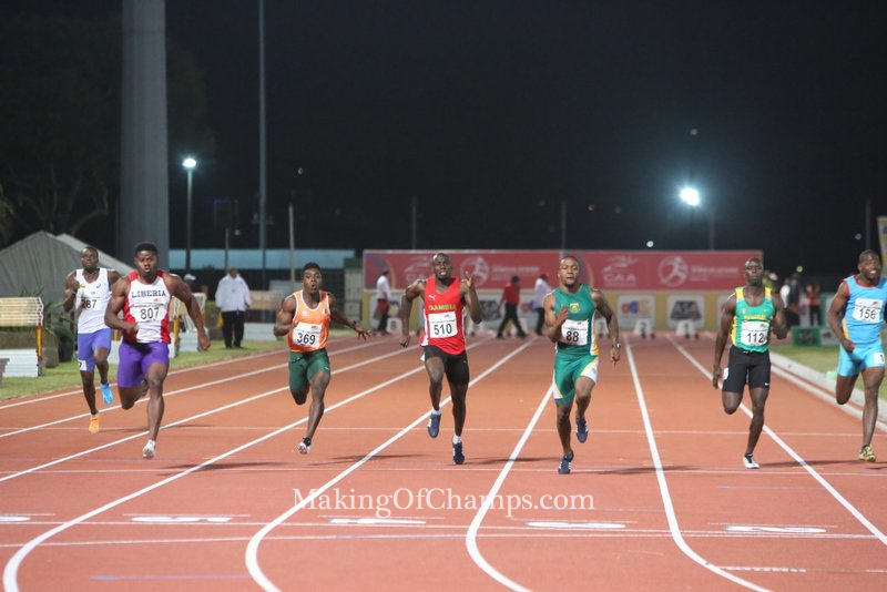 Athletes competing in the semis of the men's 100m.
