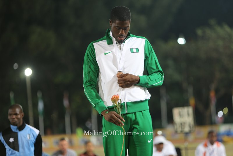 Chidi Okezie having a look at his Bronze medal