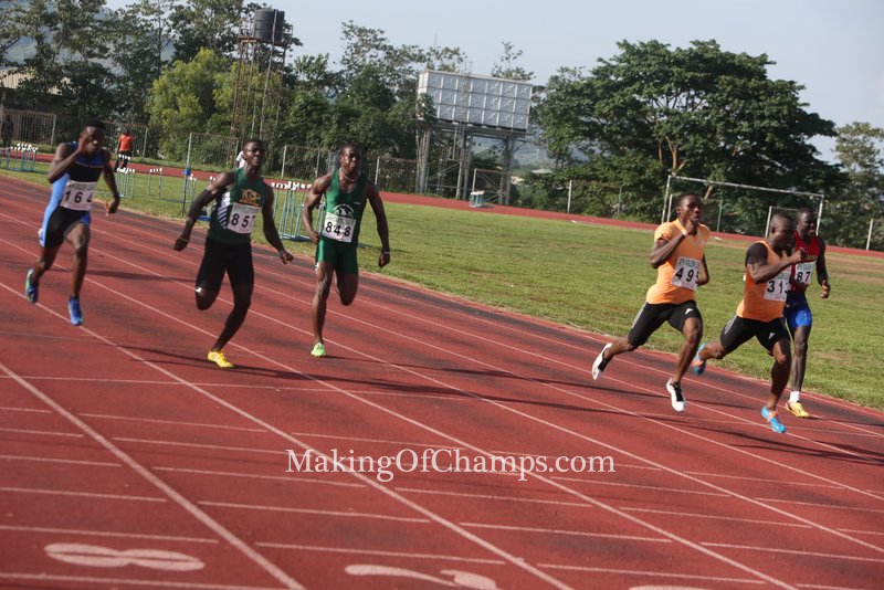 Edwin Peter competing in the same 100m final against the likes of Divine Oduduru and Ogho-Oghene Egwero