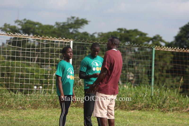 Getting training tips from coach Deji Aliu