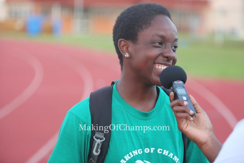 Joy Udo Gabriel was very excited with her new PB in the 100m