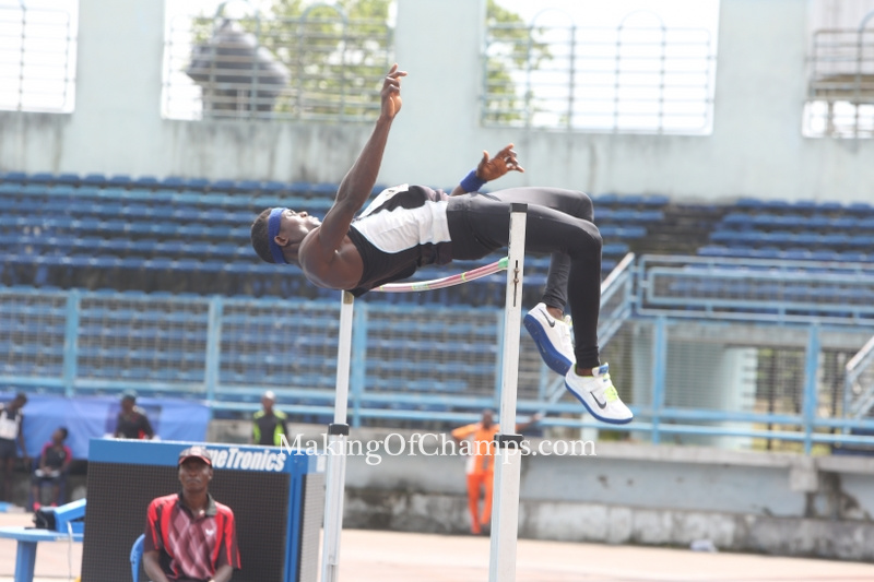 Theddus Okpara winning height of 2.10m