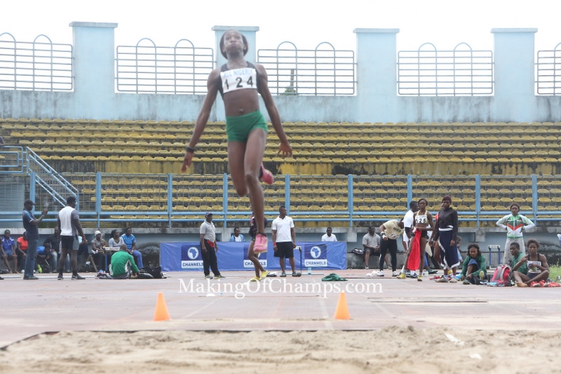 Mercy Abire leaping to 6.14m to win the Bronze medal