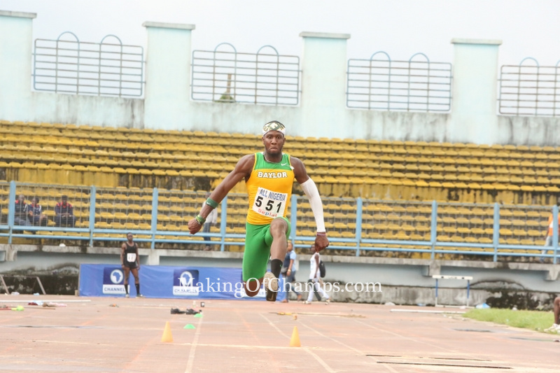 Felix Obi jumps to a distance of 16.44m to win the Silver medal