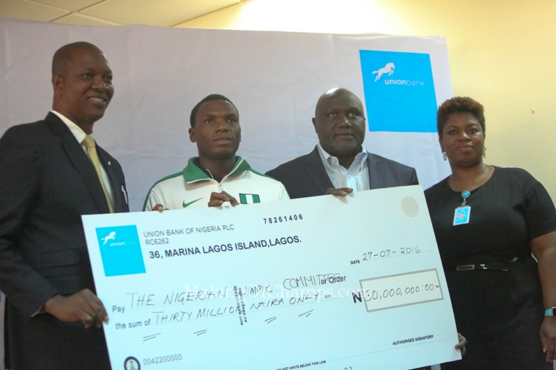 Team Nigeria was gifted with N25 million, and the Nigeria Olympic Committee with N5 million.