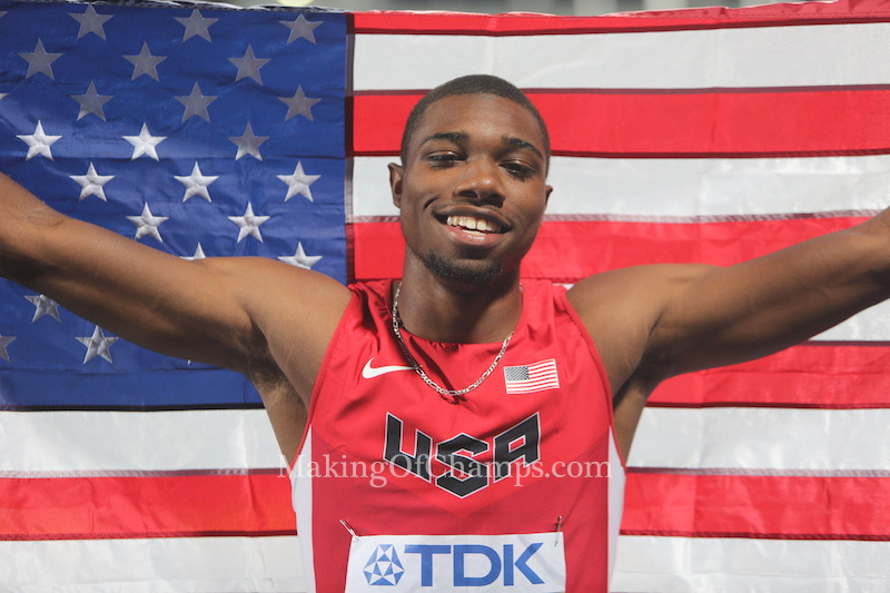 Noah Lyles holds on to win mens 200m semifinal at World