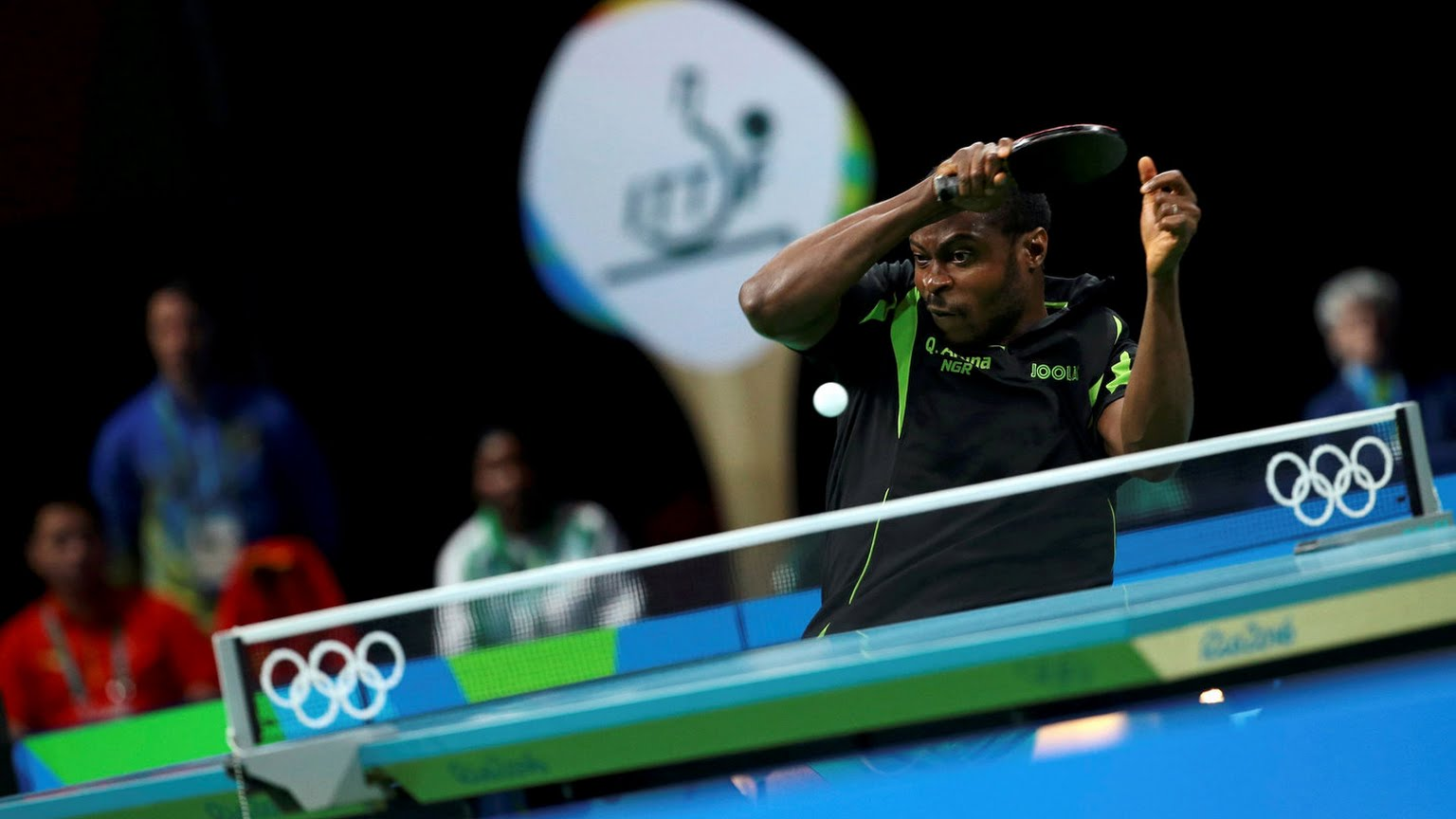 Aruna Quadri returning a serve in one of his epic matches at the Rio 2016 Olympic Games. Photo Credit: OlympicGamesRio2016