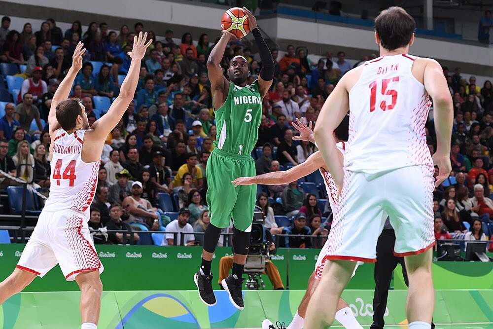 Umeh shooting one of his outside shots that went in against Croatia. Photo Credit: @FIBA